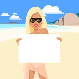 Cute girl in a bikini and pareo on the beach. Royalty Free Stock Images