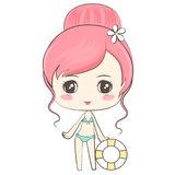 Cute Girl in Bikini. Cute girl and SD cartoon in bikini Vector Illustration