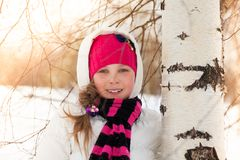 Cute girl in birch forest Royalty Free Stock Image