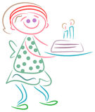 Cute girl with birth day cake Stock Images