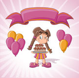 Cute girl with birthday cake. Balloons and pink ribbon. Birthday party Royalty Free Stock Image