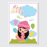 Cute girl and birthday cake on the garden  cartoon illustration for Happy Birthday card design. Postcard, and wallpaper Stock Photos