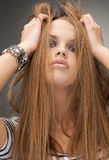 Cute girl with bizarre hairstyle. Posing Royalty Free Stock Photos