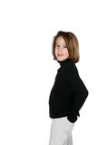 Cute girl with black turtleneck and a smile Royalty Free Stock Photography