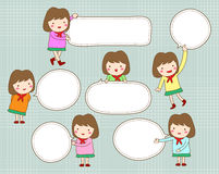 Cute girl with blank text speech bubble Royalty Free Stock Photo
