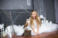 Cute girl with blond hair in a white dress with a white owl. On her arms royalty free stock image