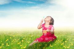 Cute girl blowing soap bubble on meadow Stock Photos