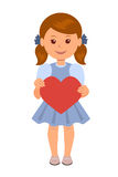 Cute girl in a blue dress holding a red paper heart. Concept design of a female character with a red heart in his hands Stock Images