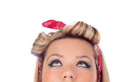 Cute girl with blue eyes in pinup style looking up Royalty Free Stock Photos