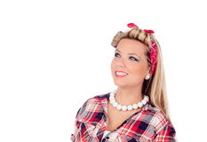 Cute girl with blue eyes in pinup style looking up Royalty Free Stock Image