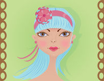 Face of a cute girl with blue hair. Face of a lovely girl with long pastel blue flowing hair and a flower headband, posing against pale green background. Cartoon stock illustration