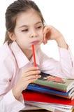 Cute girl bored homework Royalty Free Stock Photo