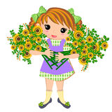 Cute kids Girl and bouquet of flowers vector illustration