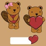 Cute girl and boy beaver cartoon love heart Stock Photos