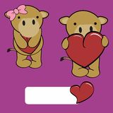 Cute girl and boy camel cartoon love heart Stock Images