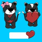 Cute girl and boy cat cartoon love heart Stock Photos