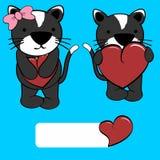 Cute girl and boy cat cartoon love heart Stock Photos