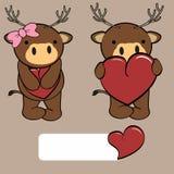 Cute girl and boy deer cartoon love heart Stock Images