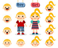 Cute girl and boy with faces showing different emotions Stock Image