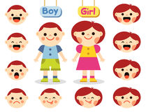 Cute girl and boy with faces showing different emotions Royalty Free Stock Image