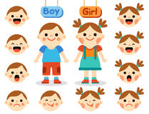 Cute girl and boy with faces showing different emotions Stock Photos
