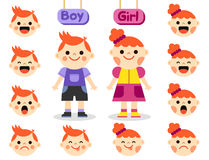 Cute girl and boy with faces showing different emotions Stock Photo