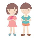 Cute girl and boy with gift box Stock Image