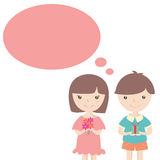 Cute girl and boy with gift box and speech bubble Stock Images