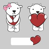 Cute girl and boy goat cartoon love heart Royalty Free Stock Photo