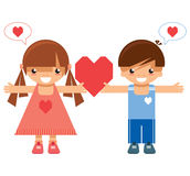 Girl and boy holding the same heart Royalty Free Stock Images