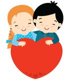 Cute girl and boy hugging big heart valentines day. Boy and girl hugging eyes closed with a big heart ready for text. Suitable for Valentines day cards or other stock illustration