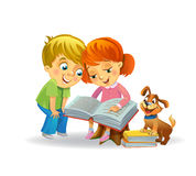 Cute girl and boy reading book Stock Image