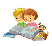 Cute girl and boy reading book. Girl and boy reading book with cute little dog beside, vector illustration vector illustration