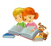 Cute girl and boy reading book Royalty Free Stock Photography