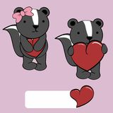 Cute girl and boy skunk cartoon love heart Royalty Free Stock Images