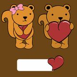 Cute girl and boy squirrel cartoon love heart Stock Photography