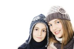 Cute girl and boy winter portrait. Stock Image