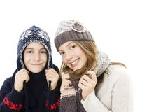 Cute girl and boy winter portrait. Stock Images