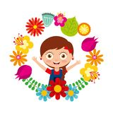 Cute girl braid hair arms open smiling floral wreath. Vector illustration stock illustration