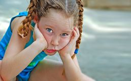 Cute Girl in Braids Stock Image