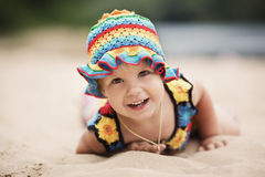 Cute girl with bright colorful dress Royalty Free Stock Photos
