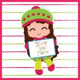 Cute girl bring your text here board on striped background. Vector cartoon illustration with cute girl bring your text here board on striped background suitable Stock Images
