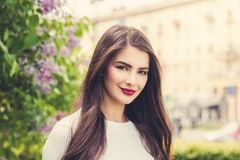 Cute girl brunette outdoor in summer day Royalty Free Stock Image