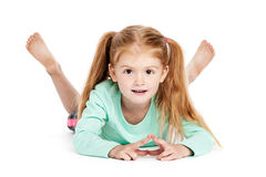 Cute Girl With Bunches. Beautiful little girl smiling to camera. Isolated on studio white background Stock Photo