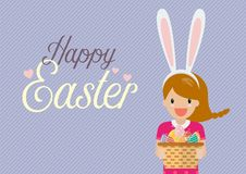 Cute girl with bunny ears mask holding basket full of easter egg Stock Photo
