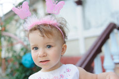 Cute Girl with Butterflies Stock Photos