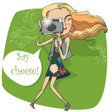 Cute girl with camera vector illustration