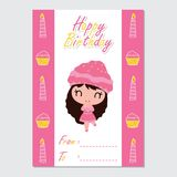 Cute girl on candle and cupcake border  cartoon illustration for Happy Birthday card design. Postcard, and wallpaper Royalty Free Stock Image