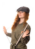 Cute girl in a cap. Pretty red-haired girl in a cap Royalty Free Stock Image