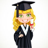 Cute girl in cap holding a scroll diploma Royalty Free Stock Photos